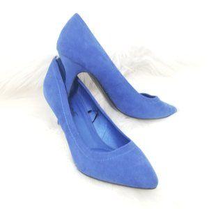 Femme   Blue Faux Suede Classic High Heels